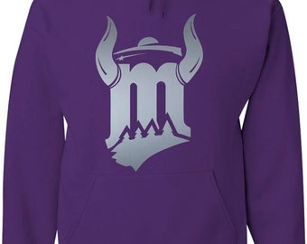 Purple Hood Sweatshirt with Silver Horned M