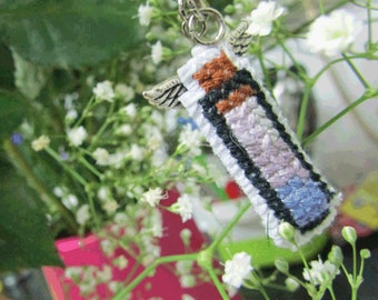 Cute cross stitched lavender serenity potion with wings charm keychain, purse/zipper charm