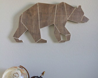 Wood Engraved Geometric Bear Home Wall Nursery Decor