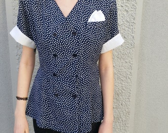 Blouse top with dots// Retro, vintage, vtg, navy blue, white