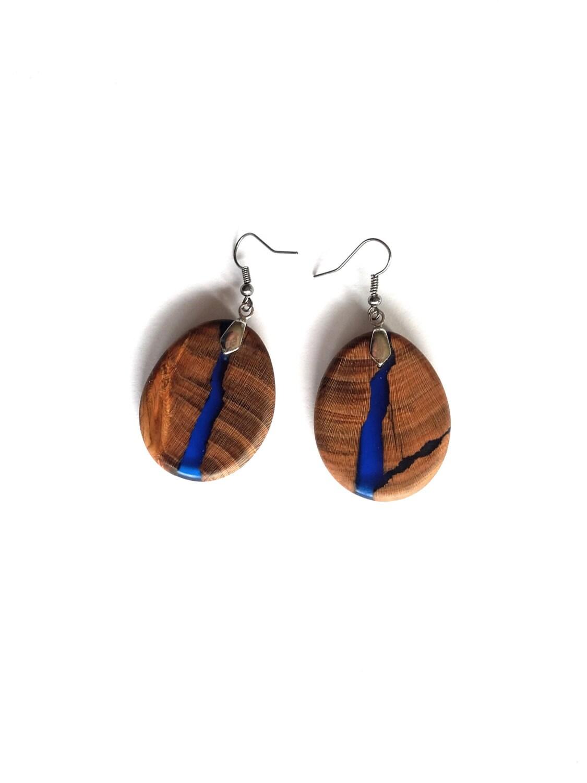 Resin Wood Earrings Resin Earrings Wooden Earrings Epoxy