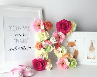 Nursery Wall Letters, Flower girl gift, Baby pink, Nursery decor, Nursery hanging letter / Baby shower gift, Photography Prop, Monogram
