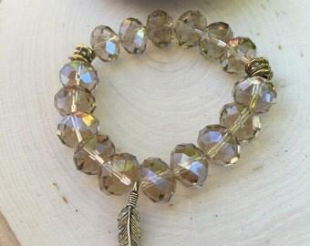 Crystal Rondelle Beaded Bracelet with Gold Leaf Charm