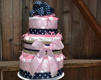 Girl diaper cake, Pink Navy Blue Diaper Cake, Unique Baby Gift, Baby Shower Centerpiece