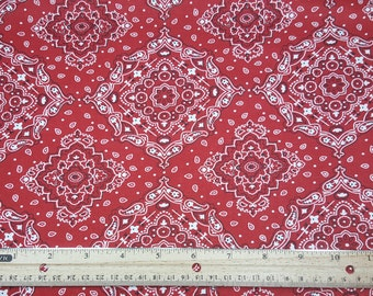 Red Bandana Fabric, by the yard or Fat Quarter, FQ, Kerchief Fabric, Paisley, Quilting Fabric, FBTY, Country, Hipster, Urban, Bandanna