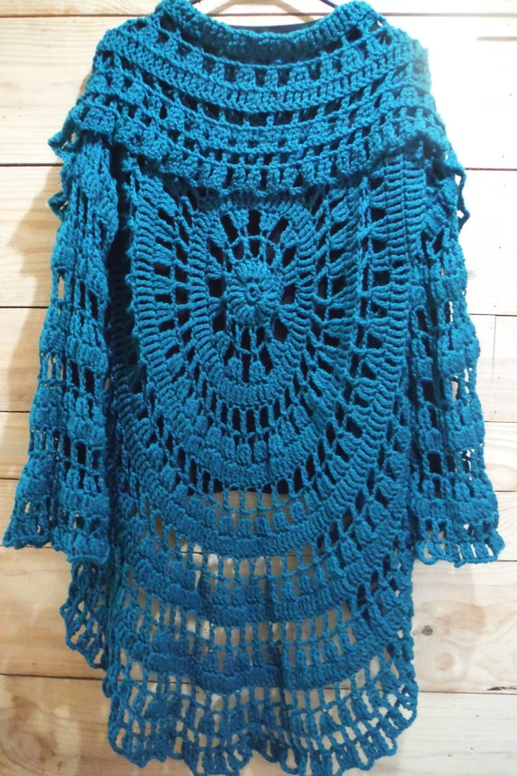 Circle Sweater: Crochet Circle Sweater Jacket In Teal Lacey By Kre8iveTangles