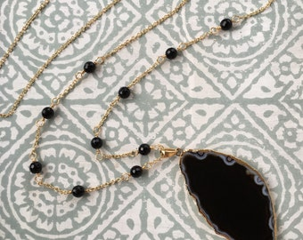 Gold & Black Agate Necklace