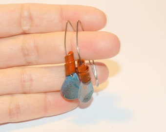 Little enamel copper earrings, Daily wear jewelry, Gift for her, Casual small earrings, Art style for girls and women, Boho style,