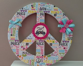 Peace Sign, Chipboard, Wall Decor, Wall Hanging, Peace, Love, Scrapbook Design Paper, PizzazinPaper