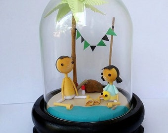 Dad and me are on beach in bell Jar, Gift, Home decoration