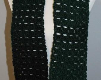 Dark Green Black Scarf,  Chunky Crocheted Scarf, Long Scarf, Wool Blend Scarf