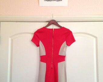 Red & Beige Bodycon Dress