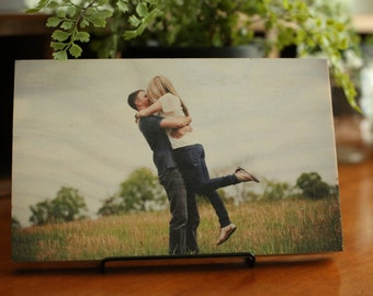 Table top wood photo; Custom photos on wood; Unique rustic picture
