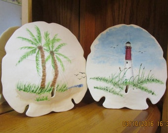 Painted Sand Dollars, Palm Tree and Lighthouse Handpainted Sand Dollars, Beach Decor, Sand Dollar Crafts