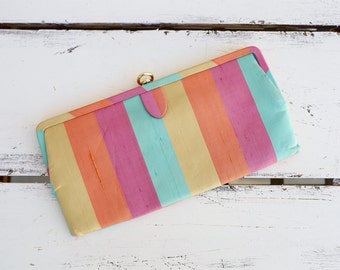 VINTAGE 50s multi color striped clutch / clasp purse