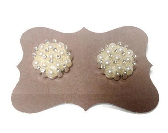 Pearl and Rhinstone Stud Earrings