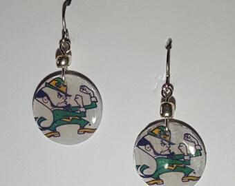 Notre Dame Fighting Irish earrings, Notre Dame Fighting Irish jewelry, Notre Dame leprechaun, school spirit jewelry