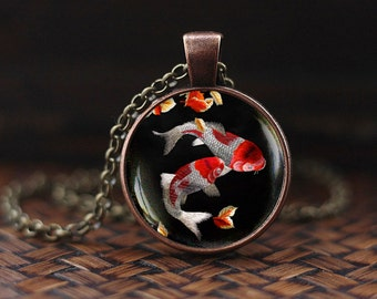 Koi Fish Necklace, Japanese Koi Fish, Japanese art Pendant, Koi Fish art, Asian Art Necklace