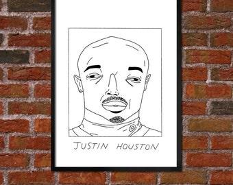 Badly Drawn Justin Houston - Kansas City Chiefsposter / print / artwork / wall art