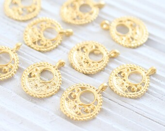 10pc gold filigree earring charms, earrings dangle, round gold charms, bracelet charms, pendant earrings, filigree, round tribal charms