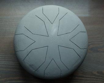 Handmade Hank Drum / Tank Drum - Slit Drum - Steel Tongue Drum - Handpan - Percussion /  Gray mat Zinc color