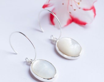 BADI, outstanding mother pearl-earrings silver-made to mano-hecho hand
