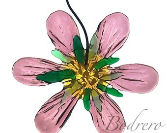Acchiappasole decoration Flower fused glass Glassy Clematis Siput