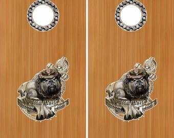"Marine Dog Of War Camo 18"" Cornhole Board Baggo Decal Stickers W/ Hole Rings"
