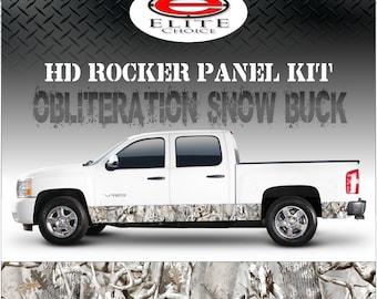 "Obliteration Tree Snow Buck Camo Rocker Panel Graphic Decal Wrap Truck SUV - 12"" x 24FT"