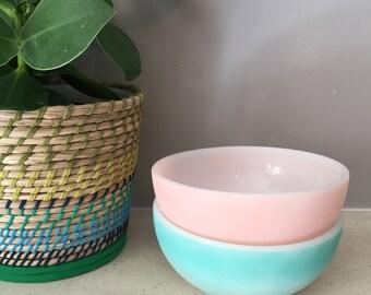 2 Vintage FireKing Milkglass Cereal Bowls (Pink & Turquoise)