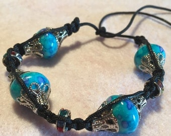 Black Cord and Blue Bead Woven Bracelet