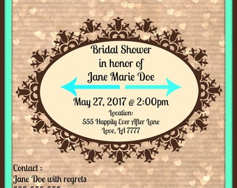 Custom Made Bridal Shower Invitation