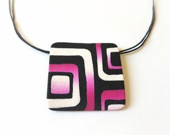 Pink statement necklace, Black and pink geometric necklace, Pink and black geometric jewelry, Gifts for mom, Pink pendant necklace, Retro