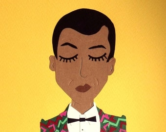 Collage Stromae Papaoutai yellow / Blue papercraft - papercut handmade / hand made paper cut illustration face
