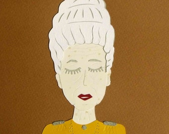 Collage Tilda Swinton The Grand Budapest Hotel Wes Anderson / handmade Papercraft / handmade face made of cut paper illustration