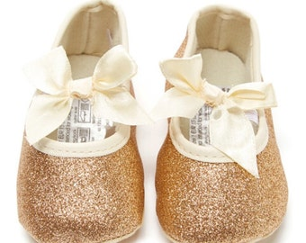 Gold Sparkly Glitter Baby Crib Shoes, Firt Birthday Shoes, Communion Shoes, Baptism Shoes, Maryjanes, Baby Wedding Shoes