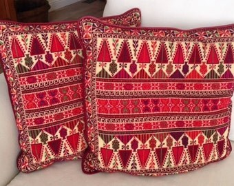 Vintage Palestinian needlepoint pillow cover pair