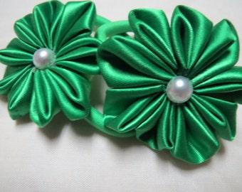 Green ponytail holders. Kanzashi style flower.