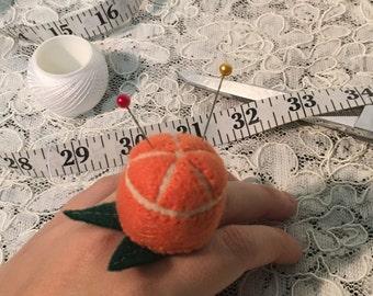 Orange Pin Cushion Ring