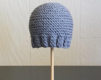 Knit Newborn Photography Prop Beanie Hat Blue Baby