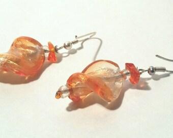 Twisted Orange Glass Earrings