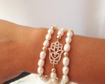 Freshwater Pearls Hamsa Bracelet