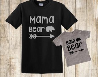 Mama Bear Baby Bear Shirt Set, Mama Bear Shirt, Baby Bear Infant Bodysuit or Toddler Shirt, Glitter Mama Bear Baby Bear Set