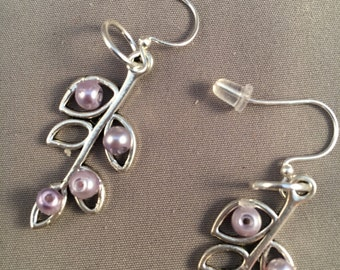 Silver Earrings with Small Lilac Pearls