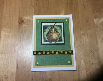 Blank Notecard with Pear
