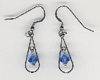 EW06003P-Earrings-Sterling Silver teardrops, links and earwires with naturally aged patina, Austrian Crystal, 1.75 in