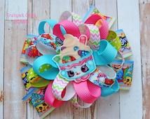 Shopkins Hair Bow Yo-Chi Frozen Shopkins Bow Shopkins Pigtails Yo-Chi hair bow Shopkins Birthday Party Loopy Flower bow Shopkins dress