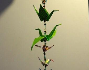 Origami Crane Mobile (Green Medium)