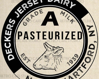 Digital Download Dairy Milk Bottle Cap Vintage Transfer Iron On Clip Art; 1021