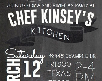 Customized Chef/Cooking-Themed Event or Party Invitation (Digital File)